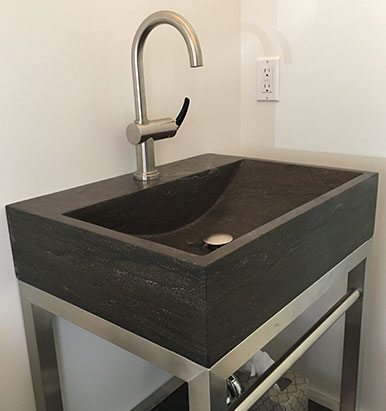 Solid Stone Vanity With Steel Base